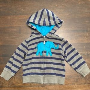 Carters Gray and Blue Elephant Zip Hoodie (9M)